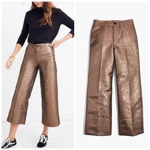 Madewell Emmett Wide-Leg Crop Pants in Metallic 28